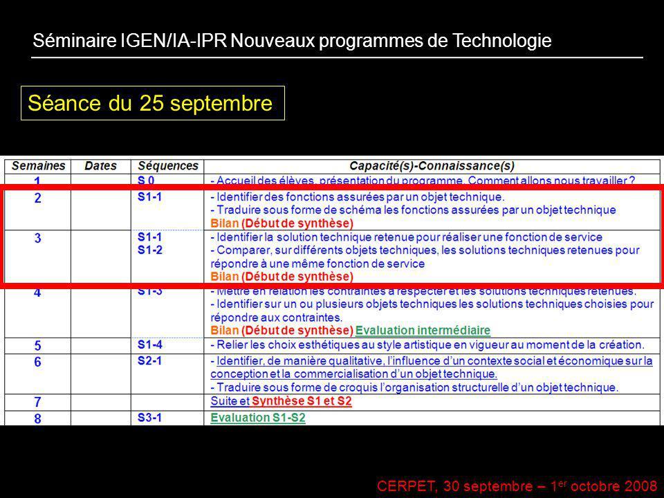 CERPET, 30 septembre – 1 er octobre 2008 Séminaire IGEN/IA-IPR Nouveaux programmes de Technologie Séance du 25 septembre
