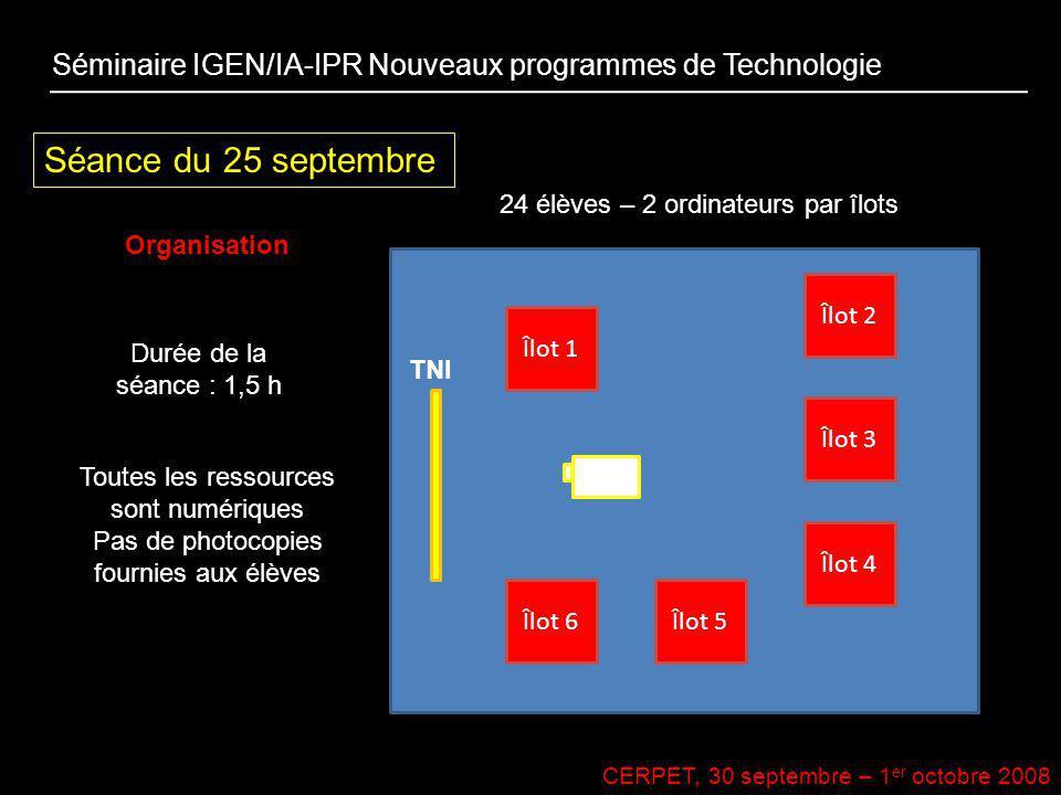 CERPET, 30 septembre – 1 er octobre 2008 Séance du 25 septembre Organisation Séminaire IGEN/IA-IPR Nouveaux programmes de Technologie Îlot 1 Îlot 2 Îl