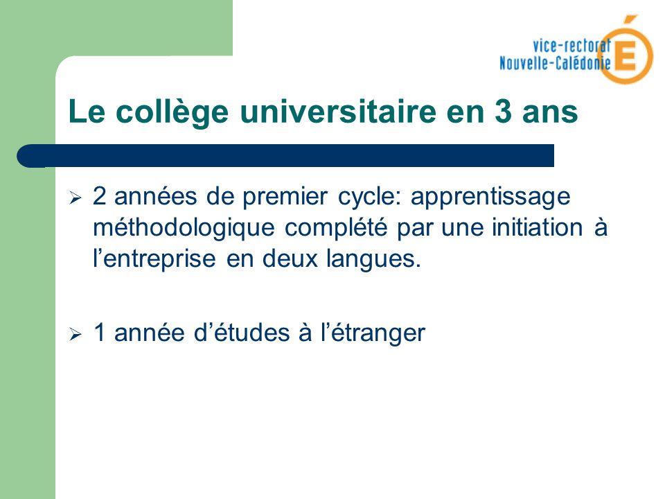 Le collège universitaire en 3 ans 2 années de premier cycle: apprentissage méthodologique complété par une initiation à lentreprise en deux langues. 1