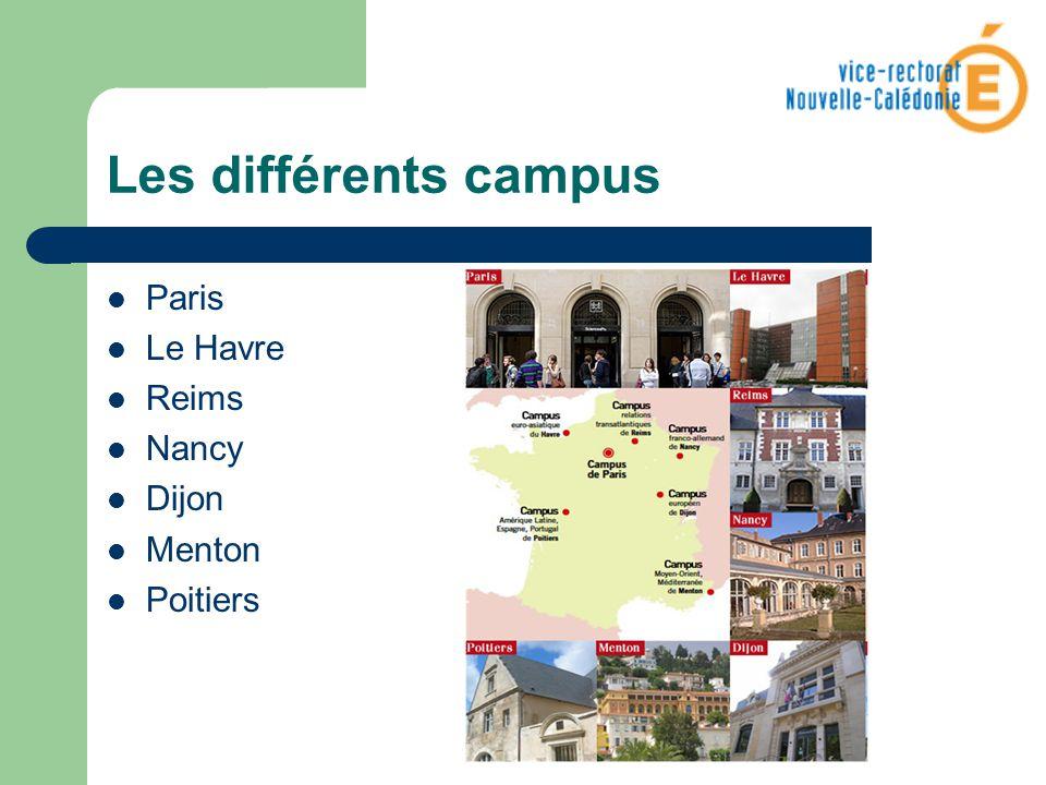 Paris Le Havre Reims Nancy Dijon Menton Poitiers Les différents campus