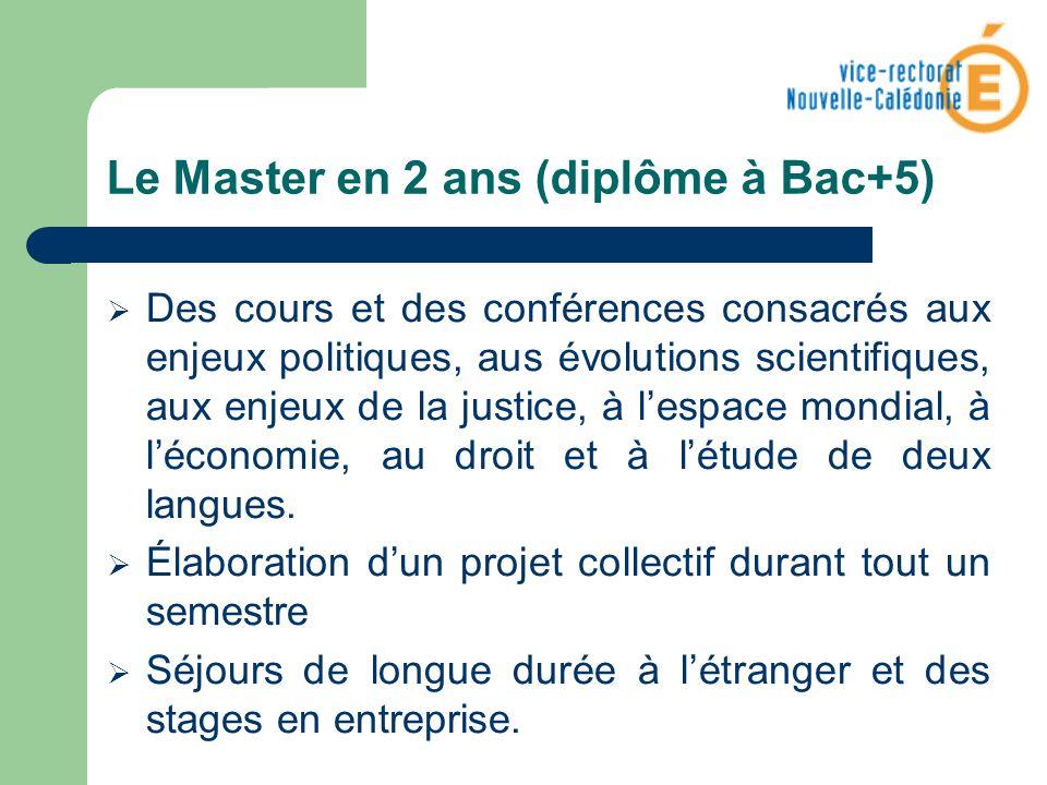 Le Master en 2 ans (diplôme à Bac+5) Des cours et des conférences consacrés aux enjeux politiques, aus évolutions scientifiques, aux enjeux de la just