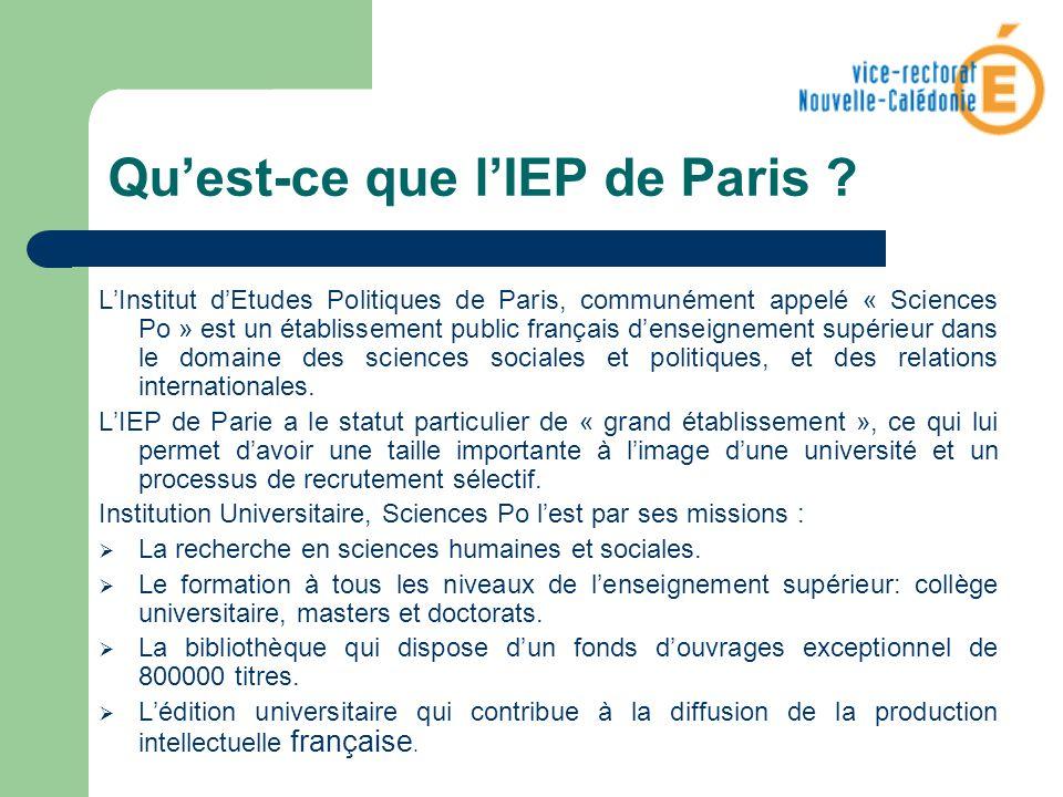 Quest-ce que lIEP de Paris ? LInstitut dEtudes Politiques de Paris, communément appelé « Sciences Po » est un établissement public français denseignem