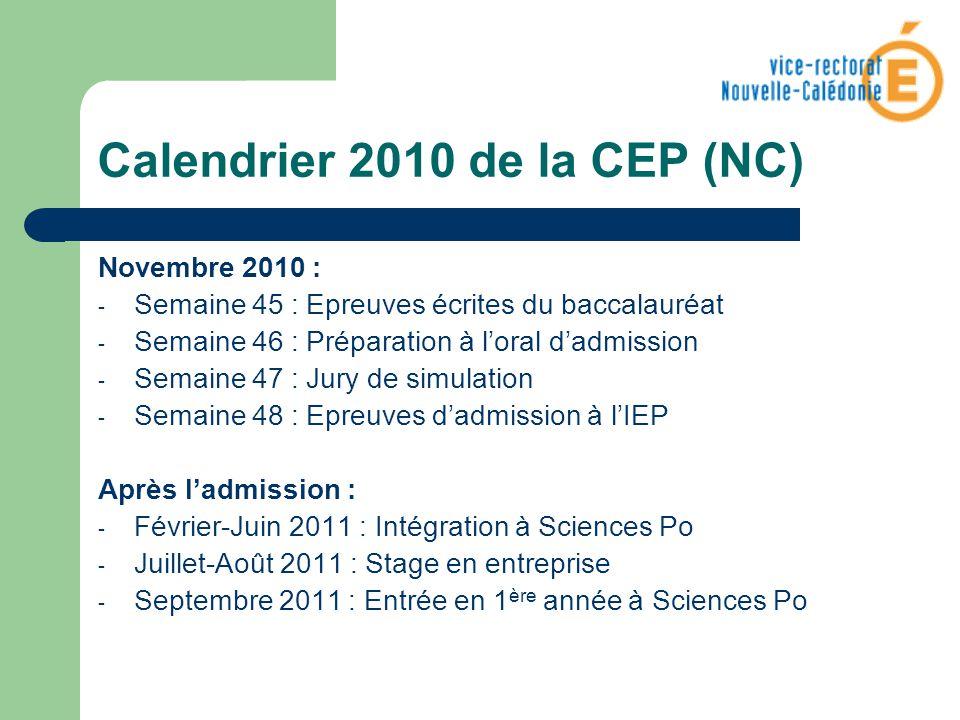 Calendrier 2010 de la CEP (NC) Novembre 2010 : - Semaine 45 : Epreuves écrites du baccalauréat - Semaine 46 : Préparation à loral dadmission - Semaine