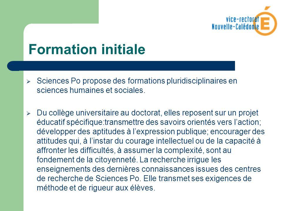 Formation initiale Sciences Po propose des formations pluridisciplinaires en sciences humaines et sociales. Du collège universitaire au doctorat, elle