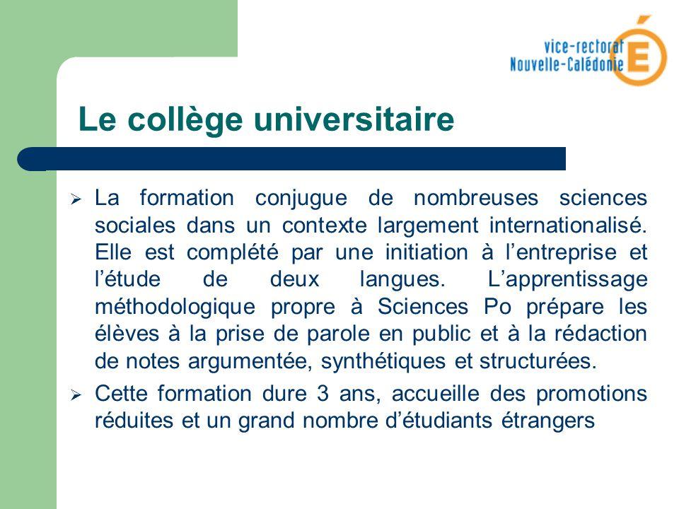 Le collège universitaire La formation conjugue de nombreuses sciences sociales dans un contexte largement internationalisé. Elle est complété par une