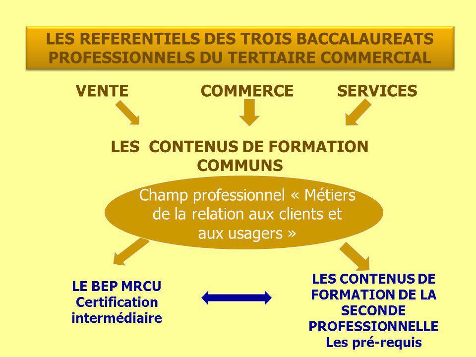 LES REFERENTIELS DES TROIS BACCALAUREATS PROFESSIONNELS DU TERTIAIRE COMMERCIAL VENTECOMMERCESERVICES LES CONTENUS DE FORMATION COMMUNS LES CONTENUS D