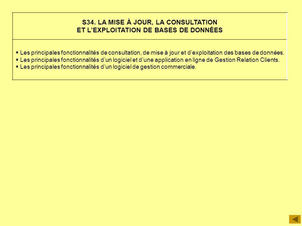 S34. LA MISE À JOUR, LA CONSULTATION ET LEXPLOITATION DE BASES DE DONNÉES Les principales fonctionnalités de consultation, de mise à jour et dexploita