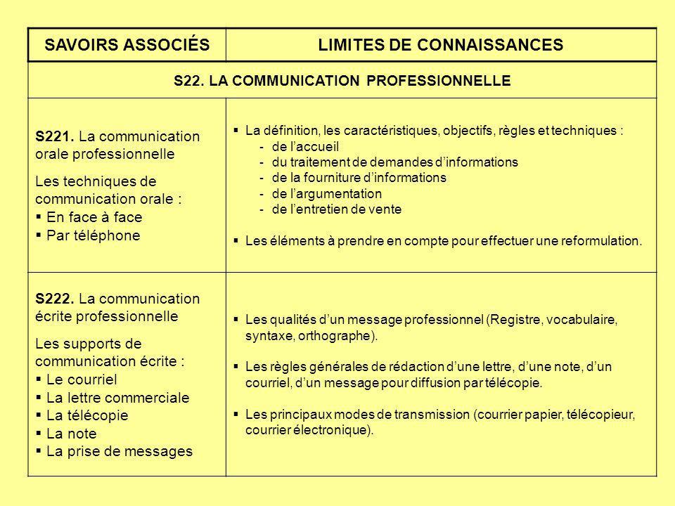 SAVOIRS ASSOCIÉSLIMITES DE CONNAISSANCES S22. LA COMMUNICATION PROFESSIONNELLE S221. La communication orale professionnelle Les techniques de communic