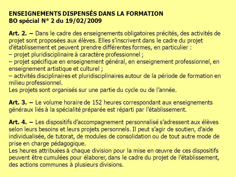 ENSEIGNEMENTS DISPENSÉS DANS LA FORMATION BO spécial N° 2 du 19/02/2009 Art. 2. Dans le cadre des enseignements obligatoires précités, des activités d