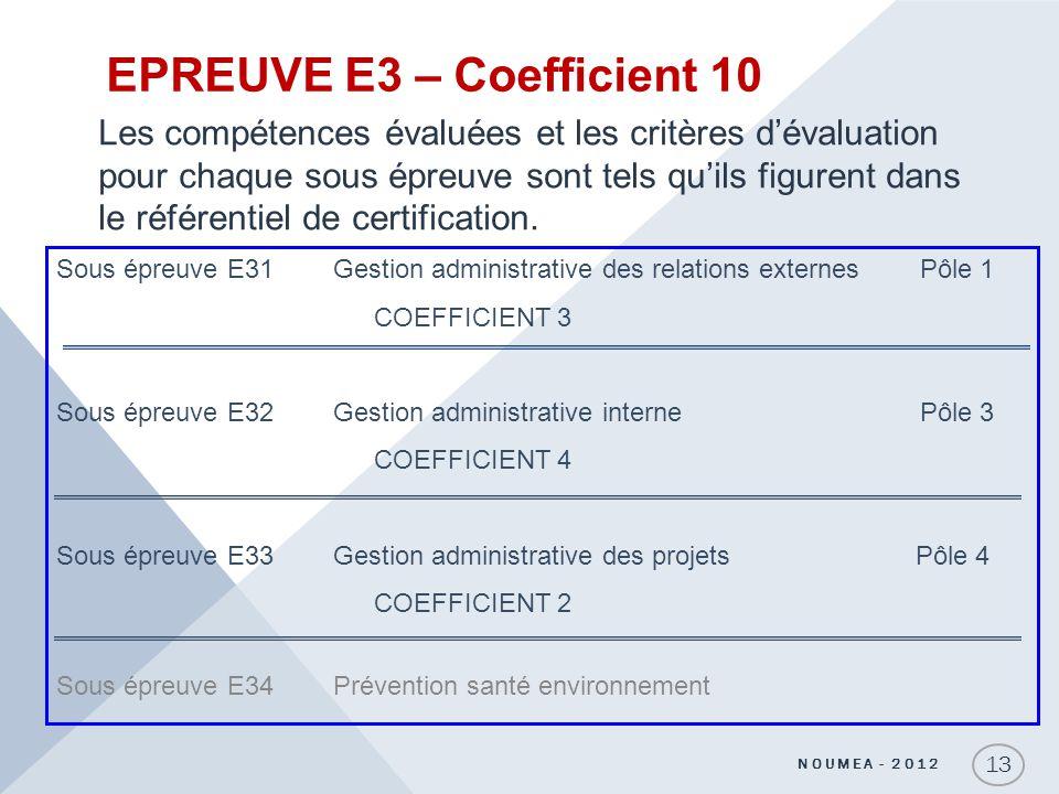 EPREUVE E3 – Coefficient 10 Les compétences évaluées et les critères dévaluation pour chaque sous épreuve sont tels quils figurent dans le référentiel
