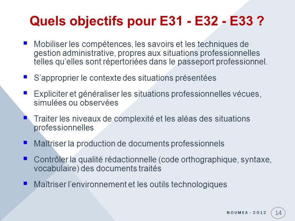 Quels objectifs pour E31 - E32 - E33 ? Mobiliser les compétences, les savoirs et les techniques de gestion administrative, propres aux situations prof