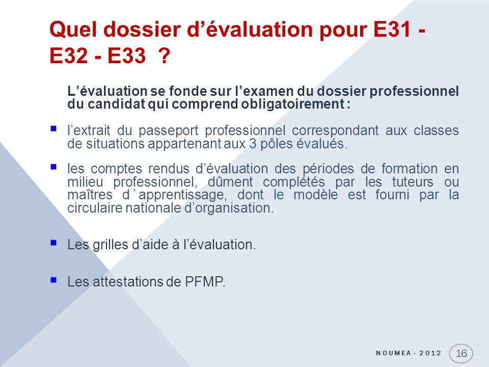 Quel dossier dévaluation pour E31 - E32 - E33 ? Lévaluation se fonde sur lexamen du dossier professionnel du candidat qui comprend obligatoirement : l