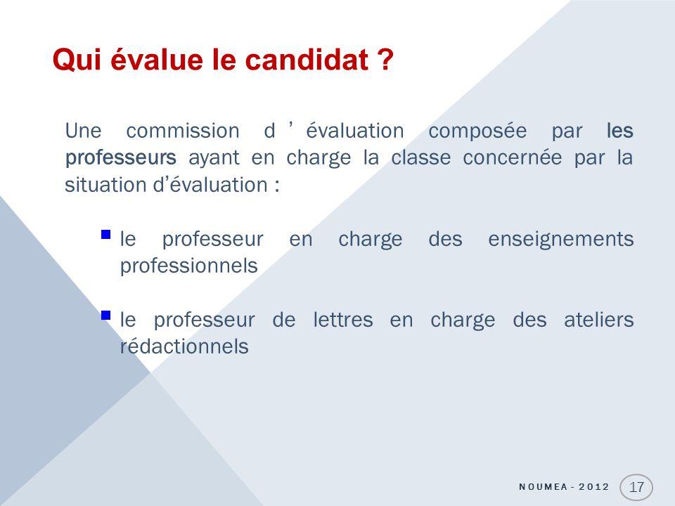 Qui évalue le candidat ? 17 Une commission dévaluation composée par les professeurs ayant en charge la classe concernée par la situation dévaluation :
