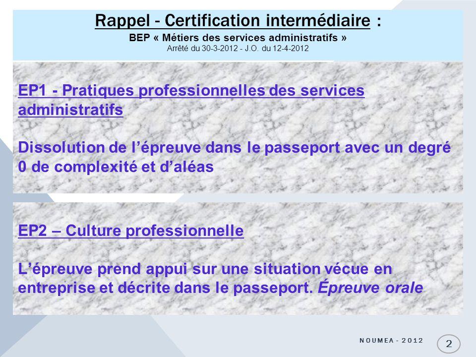 Rappel - Certification intermédiaire : BEP « Métiers des services administratifs » Arrêté du 30-3-2012 - J.O. du 12-4-2012 NOUMEA - 2012 2 EP1 - Prati