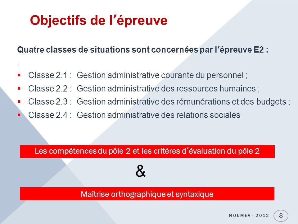Objectifs de lépreuve Quatre classes de situations sont concernées par lépreuve E2 :. Classe 2.1 : Gestion administrative courante du personnel ; Clas