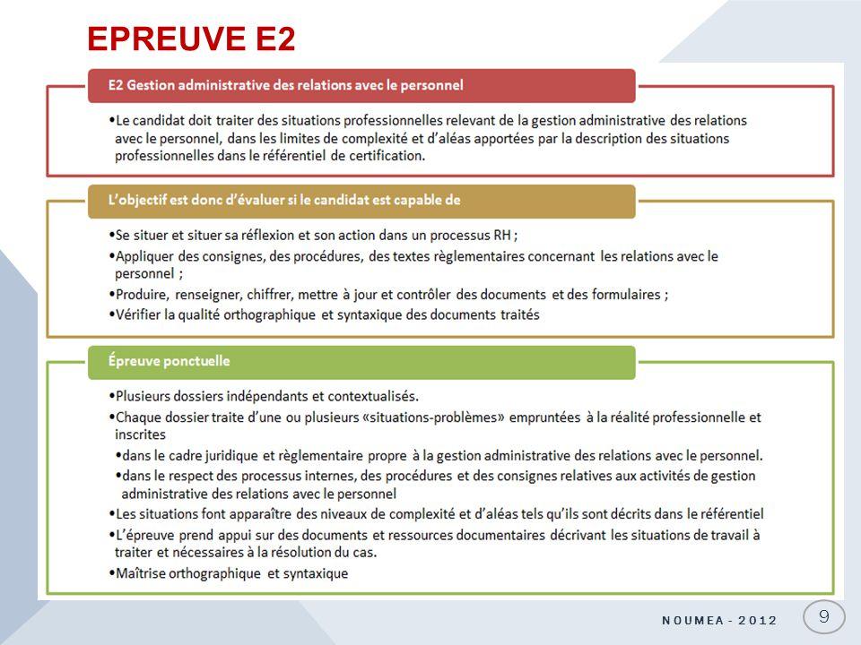EPREUVE E2 NOUMEA - 2012 9