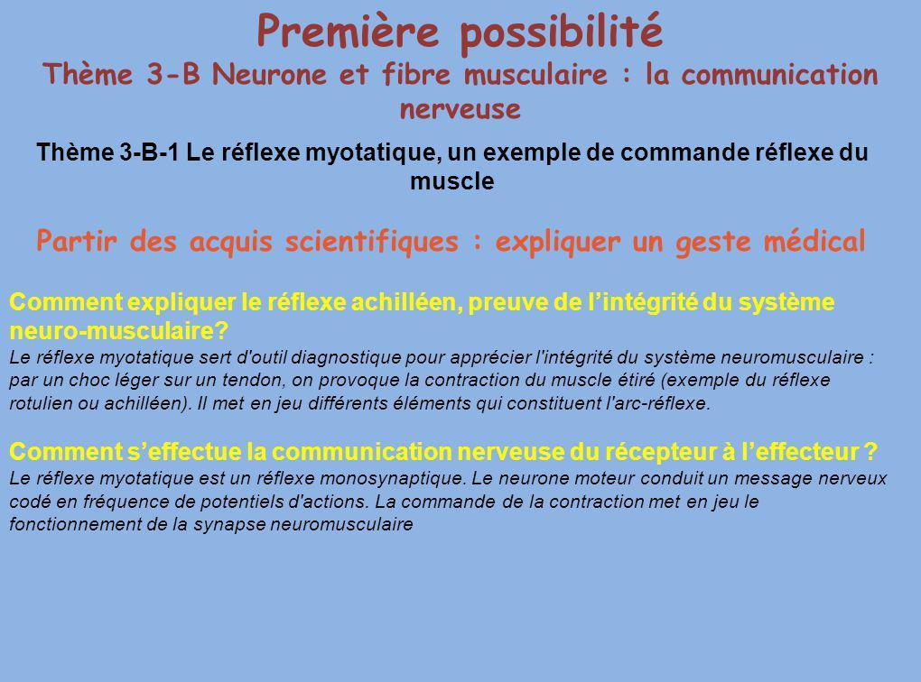 Thème 3-B-1 Le réflexe myotatique, un exemple de commande réflexe du muscle Partir des acquis scientifiques : expliquer un geste médical Comment expli