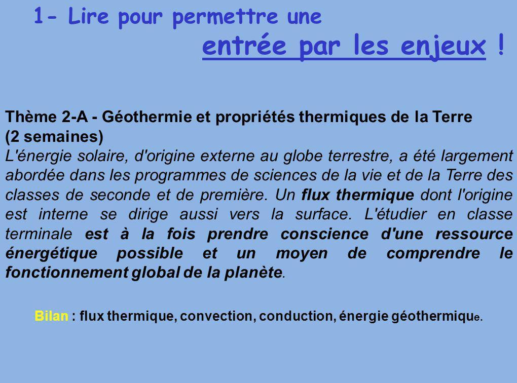1- Lire pour permettre une entrée par les enjeux ! Thème 2-A - Géothermie et propriétés thermiques de la Terre (2 semaines) L'énergie solaire, d'origi