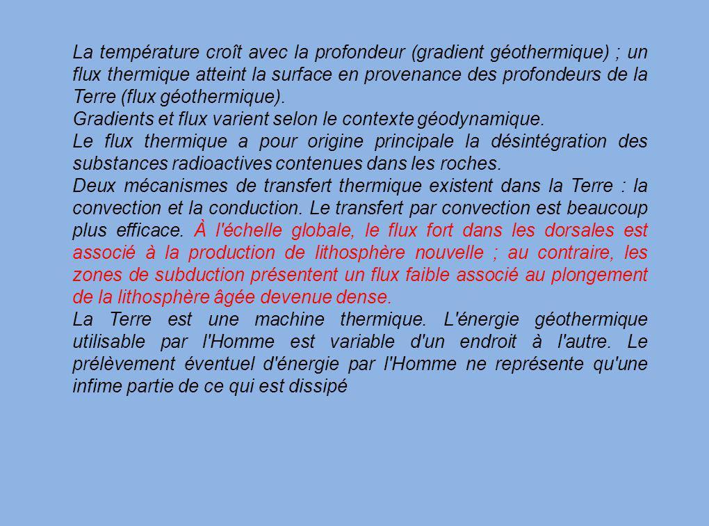 La température croît avec la profondeur (gradient géothermique) ; un flux thermique atteint la surface en provenance des profondeurs de la Terre (flux