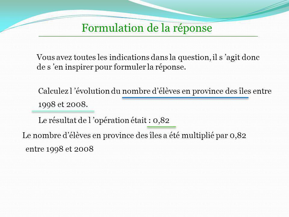 Formulation de la réponse Vous avez toutes les indications dans la question, il s agit donc de s en inspirer pour formuler la réponse. Calculez l évol