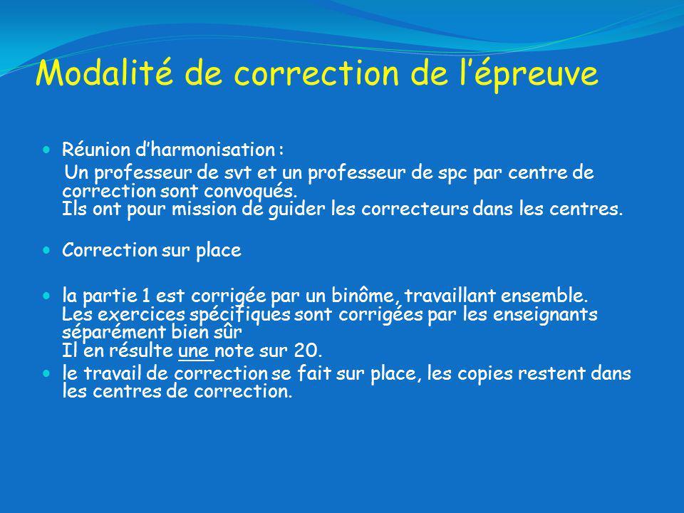 Modalité de correction de lépreuve Réunion dharmonisation : Un professeur de svt et un professeur de spc par centre de correction sont convoqués.