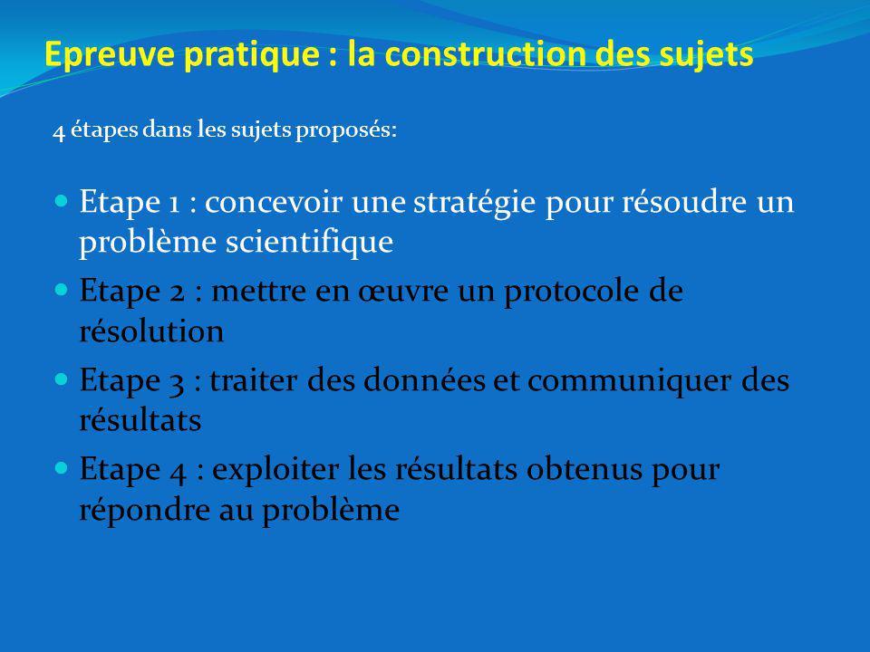 Epreuve pratique : la construction des sujets 4 étapes dans les sujets proposés: Etape 1 : concevoir une stratégie pour résoudre un problème scientifique Etape 2 : mettre en œuvre un protocole de résolution Etape 3 : traiter des données et communiquer des résultats Etape 4 : exploiter les résultats obtenus pour répondre au problème