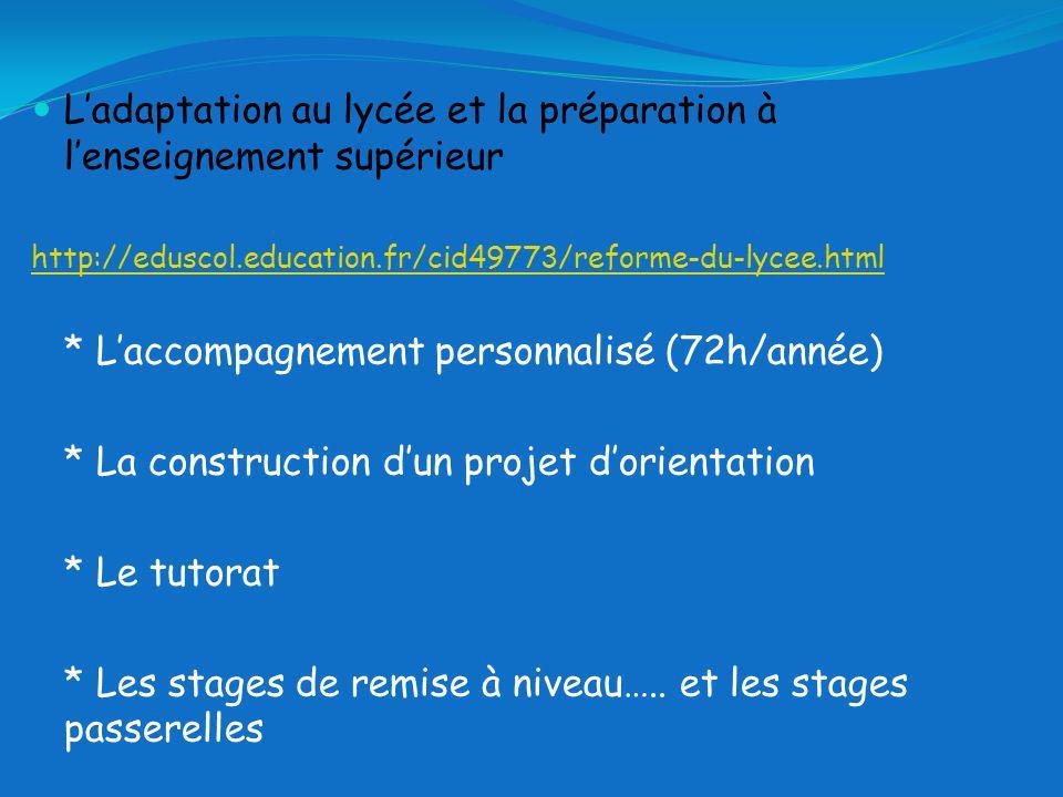 Ladaptation au lycée et la préparation à lenseignement supérieur http://eduscol.education.fr/cid49773/reforme-du-lycee.html * Laccompagnement personnalisé (72h/année) * La construction dun projet dorientation * Le tutorat * Les stages de remise à niveau…..