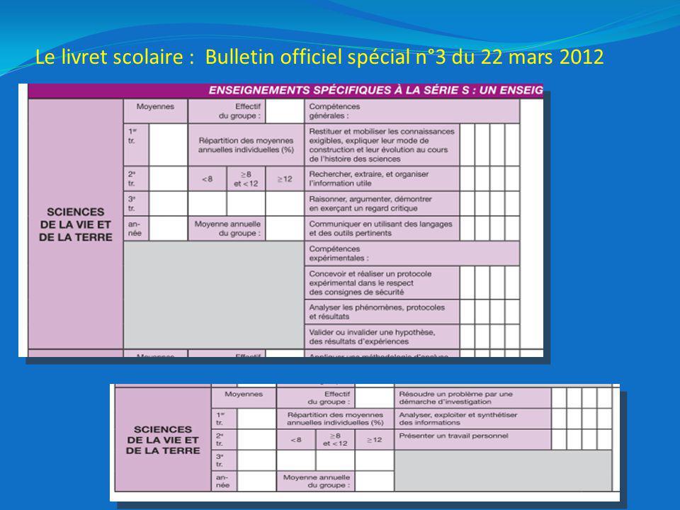 Le livret scolaire : Bulletin officiel spécial n°3 du 22 mars 2012