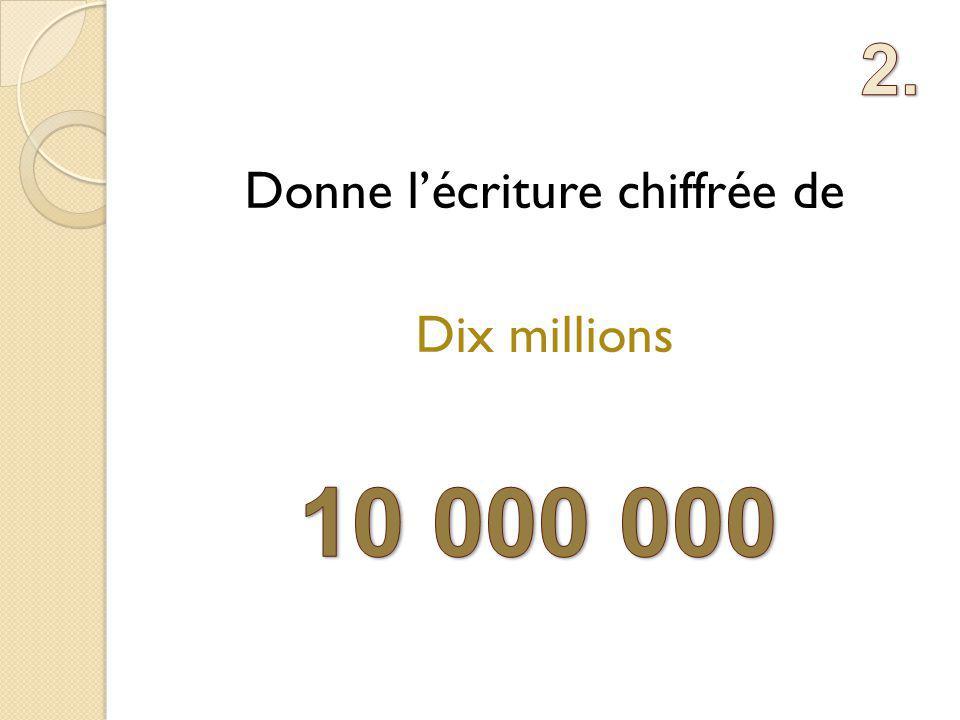 Donne lécriture chiffrée de Dix millions