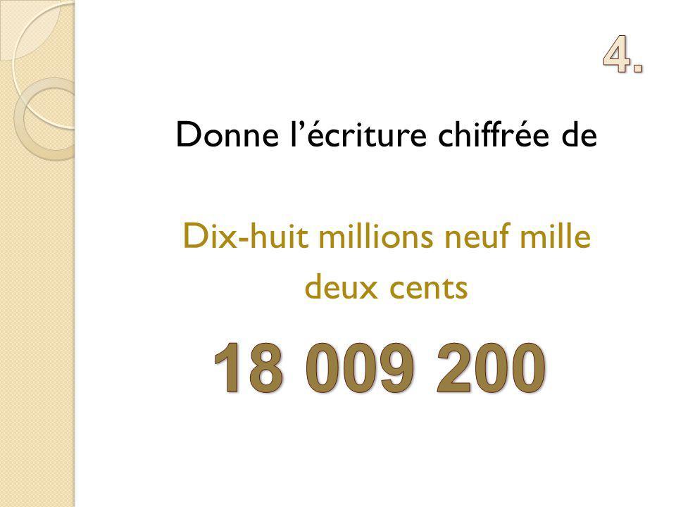Donne lécriture chiffrée de Dix-huit millions neuf mille deux cents