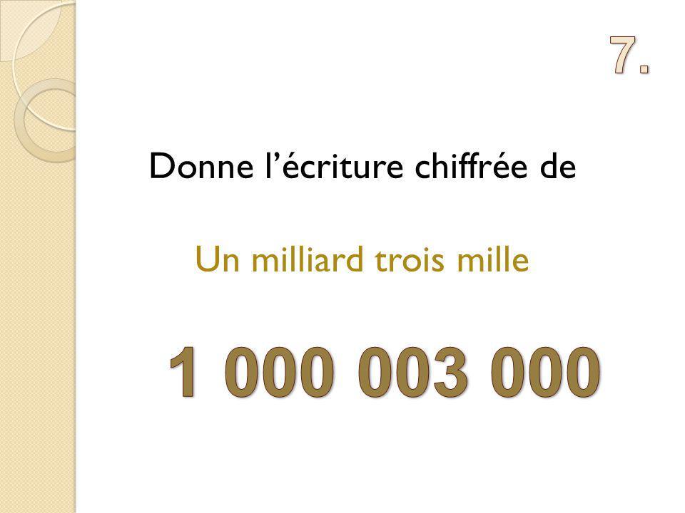 Donne lécriture chiffrée de Un milliard trois mille