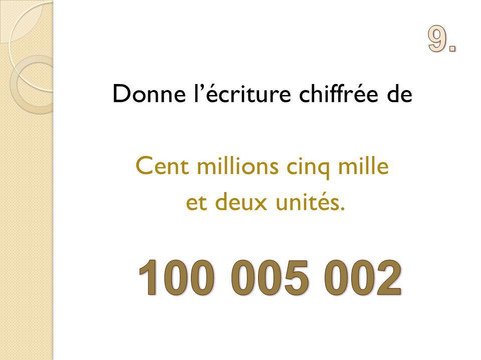 Donne lécriture chiffrée de Cent millions cinq mille et deux unités.