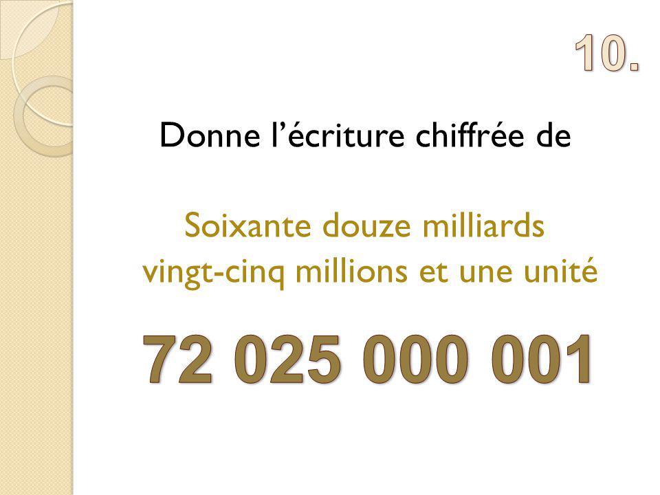 Donne lécriture chiffrée de Soixante douze milliards vingt-cinq millions et une unité