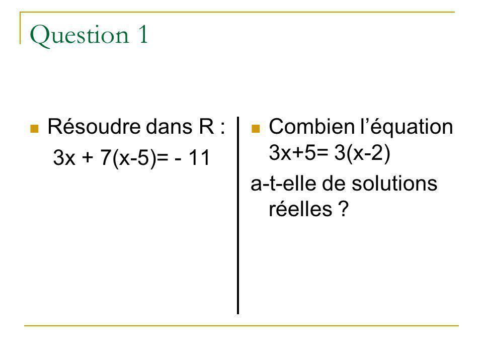 Question 1 Résoudre dans R : 3x + 7(x-5)= - 11 Combien léquation 3x+5= 3(x-2) a-t-elle de solutions réelles ?
