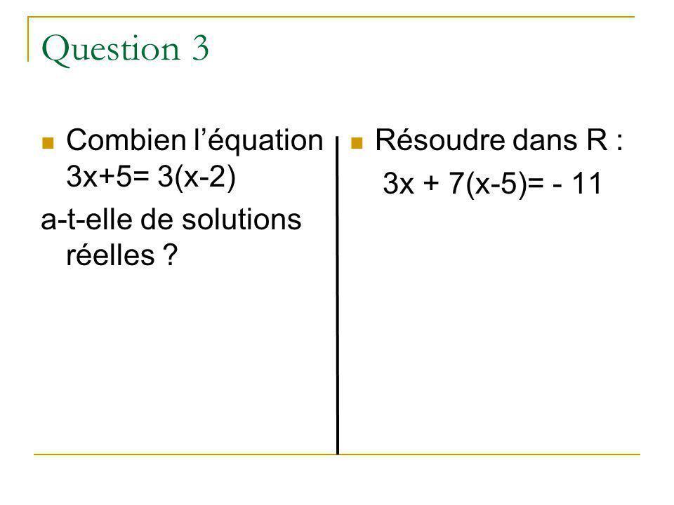 Question 2 Combien léquation X² = a ( a étant un réel donné et x linconnue) admet-elle de solutions réelles ? Combien léquation : 3x+6 = 3(x+2) a-t-el