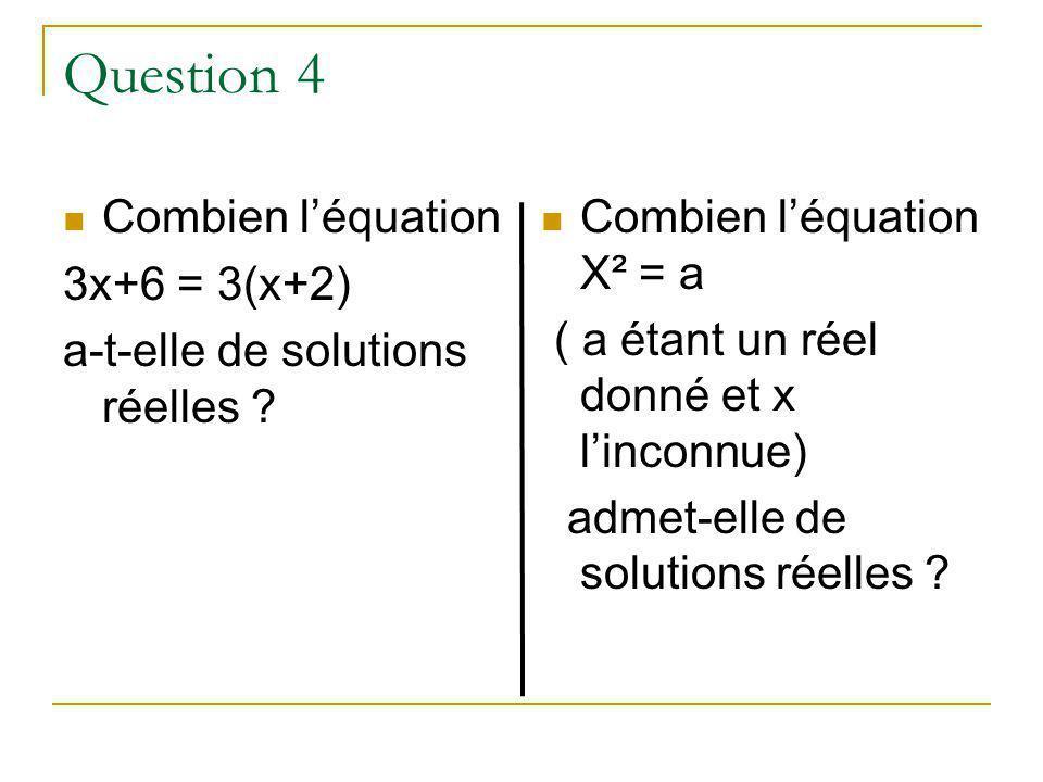 Question 4 Combien léquation 3x+6 = 3(x+2) a-t-elle de solutions réelles .