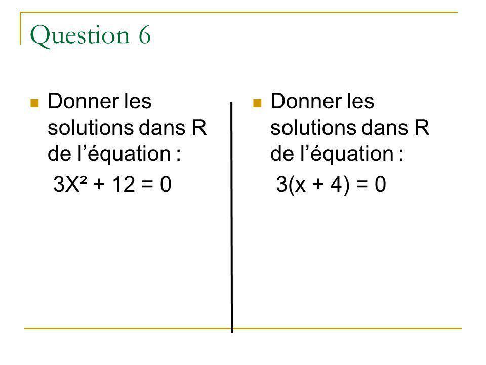 Question 6 Donner les solutions dans R de léquation : 3X² + 12 = 0 Donner les solutions dans R de léquation : 3(x + 4) = 0