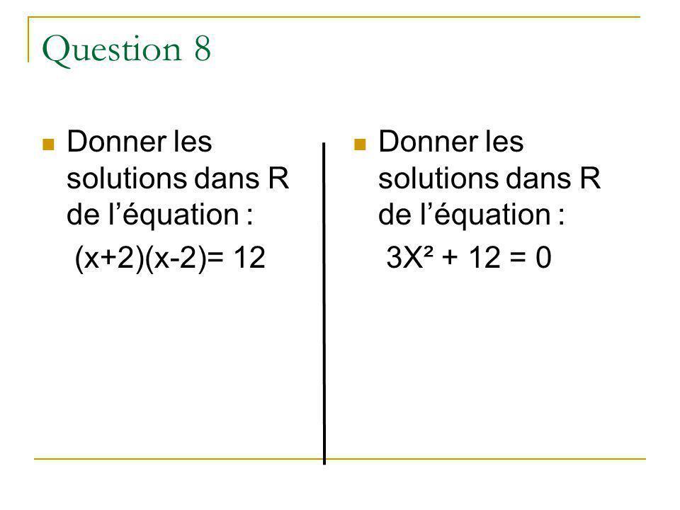 Question 8 Donner les solutions dans R de léquation : (x+2)(x-2)= 12 Donner les solutions dans R de léquation : 3X² + 12 = 0