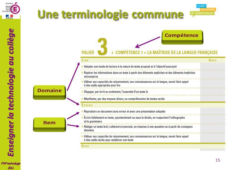 Enseigner la technologie au collège PNP technologie 2011 Une terminologie commune 15