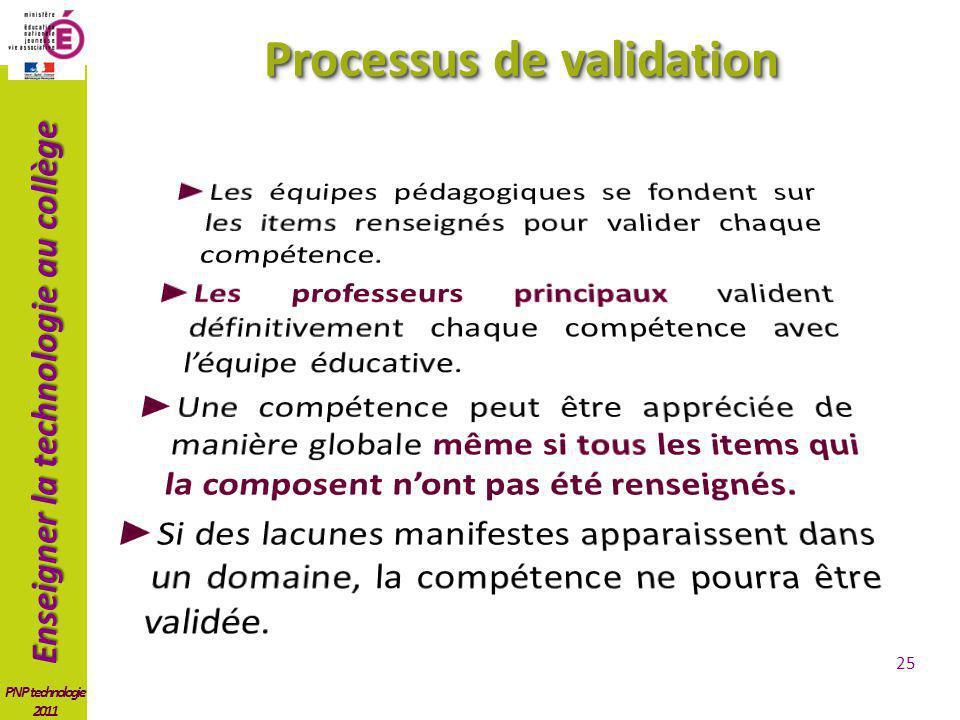 Enseigner la technologie au collège PNP technologie 2011 Processus de validation 25