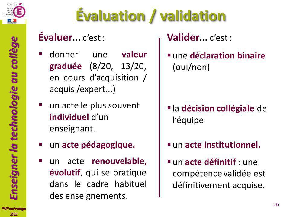 Enseigner la technologie au collège PNP technologie 2011 Évaluer... cest : donner une valeur graduée (8/20, 13/20, en cours dacquisition / acquis /exp