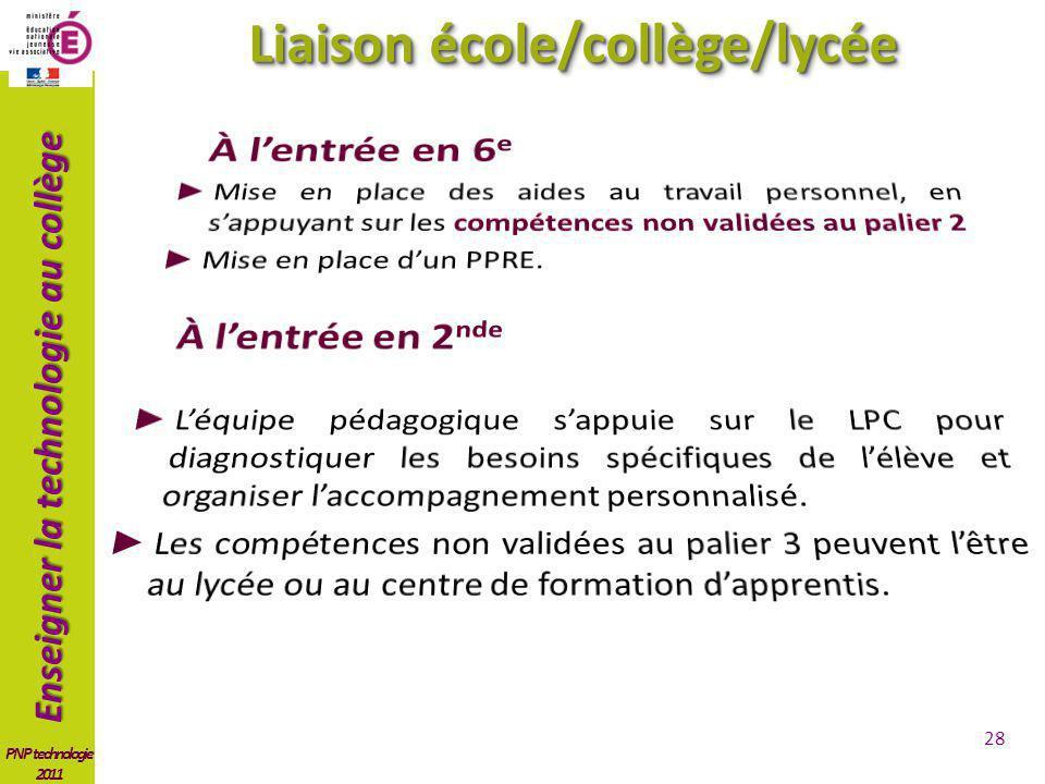 Enseigner la technologie au collège PNP technologie 2011 Liaison école/collège/lycée 28