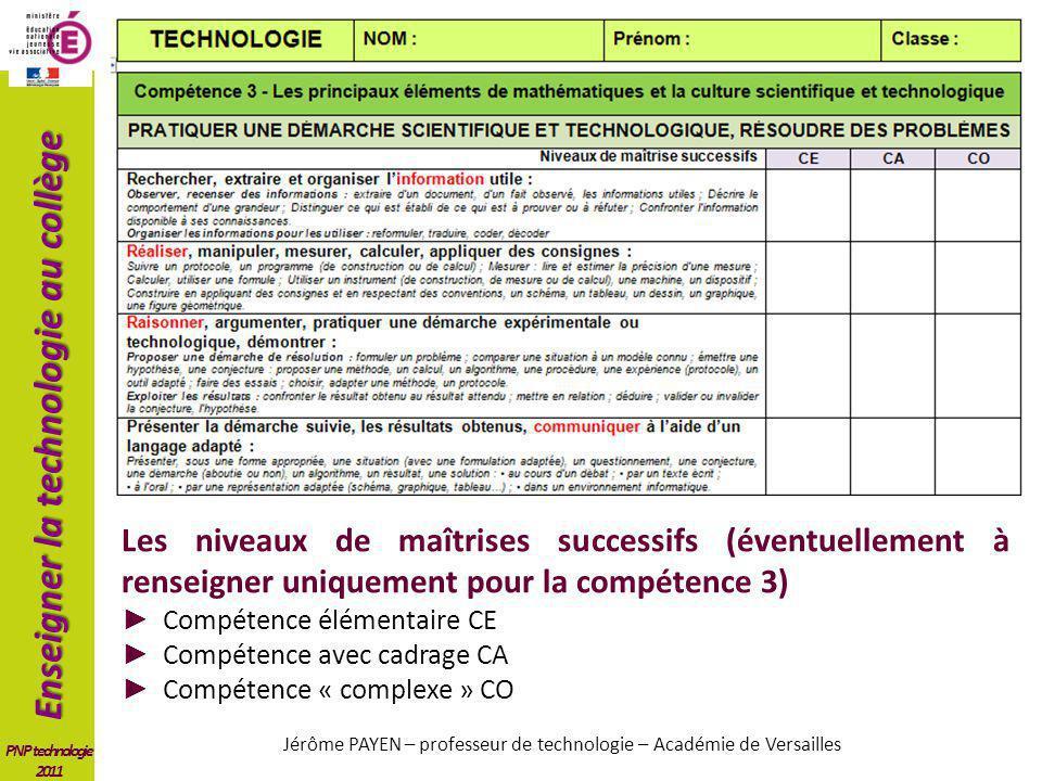 Enseigner la technologie au collège PNP technologie 2011 Les niveaux de maîtrises successifs (éventuellement à renseigner uniquement pour la compétenc