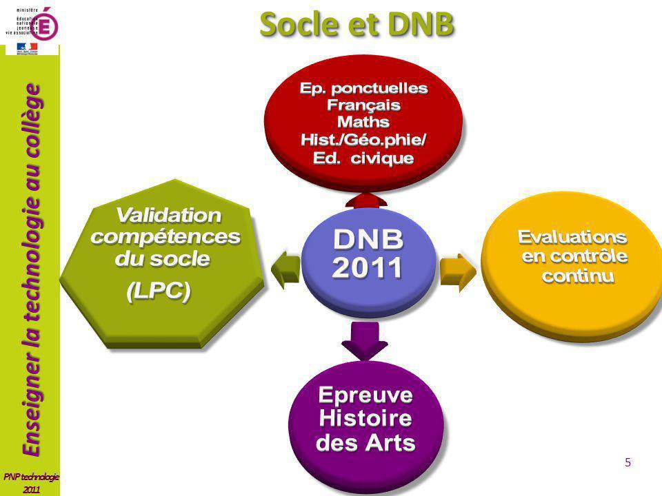 Enseigner la technologie au collège PNP technologie 2011 6 Socle et DNB