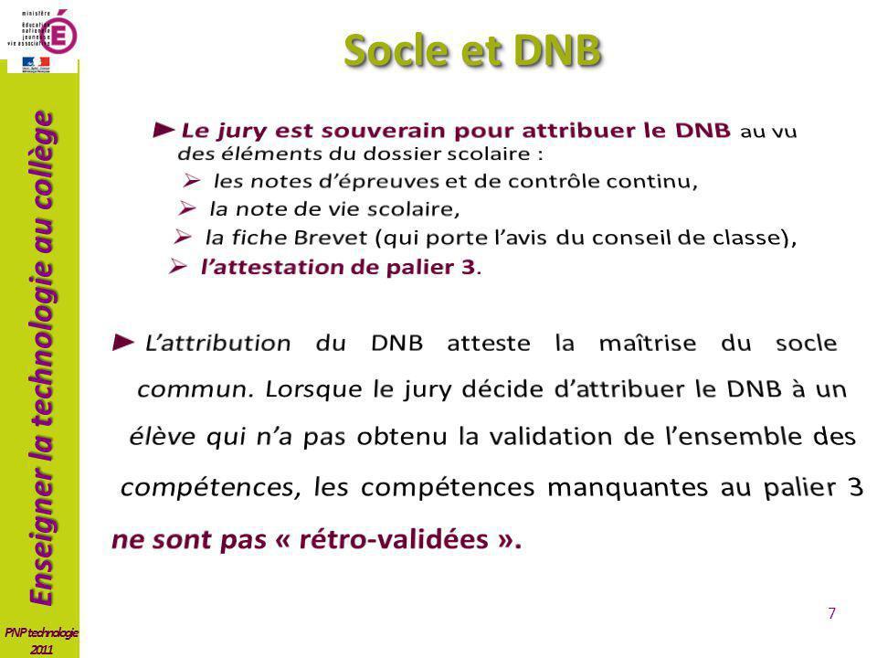 Enseigner la technologie au collège PNP technologie 2011 DNB > Socle 8