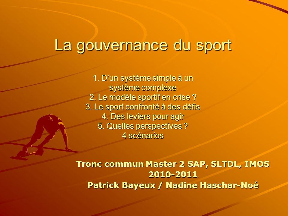 Tronc commun Master 2 SAP, SLTDL, IMOS 2010-2011 Patrick Bayeux / Nadine Haschar-Noé La gouvernance du sport 1.