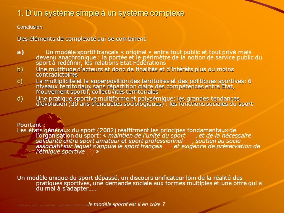 1. Dun système simple à un système complexe Conclusion Des éléments de complexité qui se combinent a) Un modèle sportif français « original » entre to
