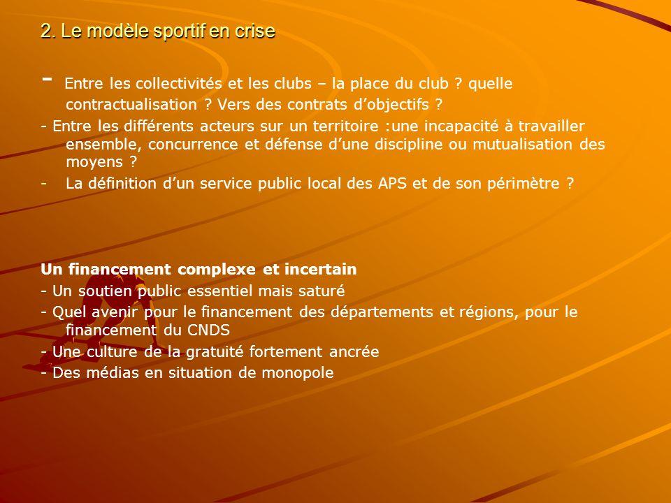 2.Le modèle sportif en crise - Entre les collectivités et les clubs – la place du club .