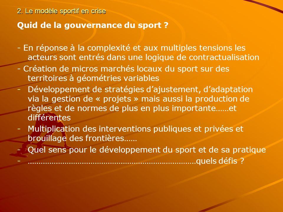 2.Le modèle sportif en crise Quid de la gouvernance du sport .