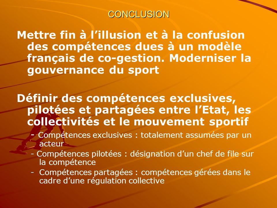 CONCLUSION Mettre fin à lillusion et à la confusion des compétences dues à un modèle français de co-gestion.